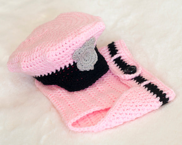 Baby Girl Police Hat & Diaper Cover