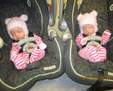 Twin Baby Girl Crochet Pink Fuzzy Bear Hat Newborn Photography