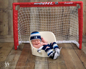 Baby Boy Hockey Blue Gray White Newborn Photography Outfit