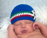 baby crochet soccer hat italy red white green football photography