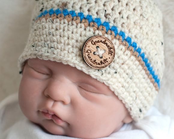 Baby Boy Tweed with Blue Crocheted Button Beanie Hat