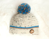 Baby Boy Crocheted Tweed Beanie Button Hat