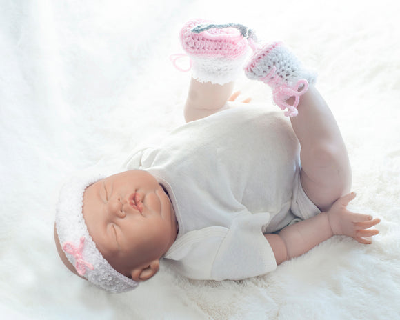 Baby Girl Figure Skates and White Headband with Faux-Fur Trim