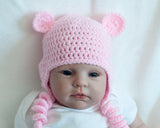 Baby Girl Pink Crochet Bear Hat