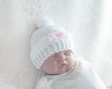 Baby Girl White Hat Crocheted with White Fur Trim Pink Bow