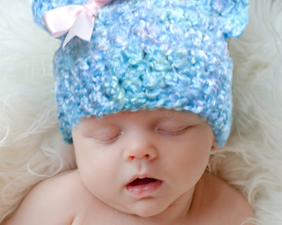 Baby Teddy Bear Hat, Girl Crochet Blue Fuzzy Hat