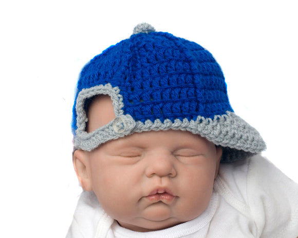 Baby Boy Crochet Baseball Backwards Ball Cap Hat Blue Gray