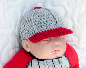 baby boy baseball crochet cap hat gray red