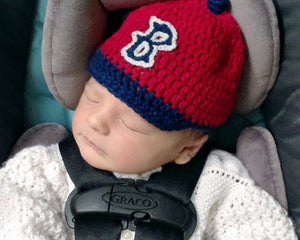 17475d823 Baby Boy Red Sox Crochet Baseball Cap Red Navy Blue – Grandmabilt