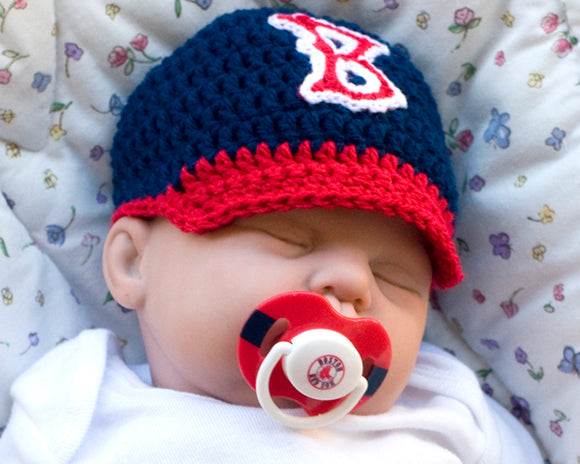 Crochet Baby Boston Red Sox Baseball Cap & MLB Pacifier