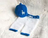 LA Dogers Baseball  Crocheted Hat and Pants