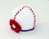 Baby Girl Baseball Crochet Beanie Hat