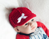Baby Girl Baseball Hat Crocheted Red Cap