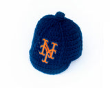 Mets Logo Baseball Hat Crochet Navy Blue