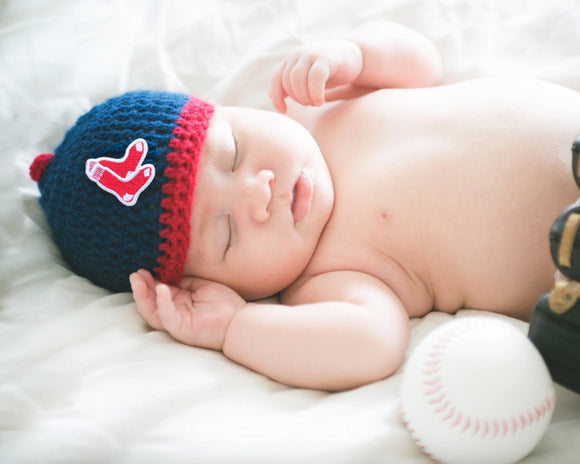 Baby Red Sox Crochet Baseball Cap Navy Blue Red