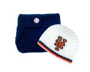 Mets Baseball Logo Beanie Hat and Diaper Cover