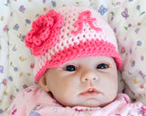Baby Girl Crochet Braves Baseball Cap Light Pink Hot Pink