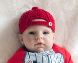Baby Boy Baseball Hat Crocheted Red Cap