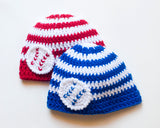 Baby Baseball Beanie Hat Red White or Royal Blue White Stripes