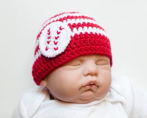 Baby Baseball Beanie Hat Red White Stripes