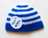Baby Baseball Beanie Hat Royal Blue White Stripes