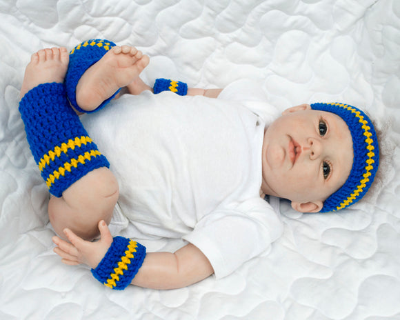 Royal Blue Gold Basketball Sweatbands Headband Leg Warmers
