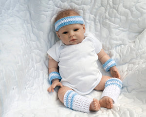 Crochet Blue White Baby Sports Headband Wristband Leg Warmers