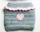 Baby Girl Crochet Bear Hat Gray & Pink with Heart