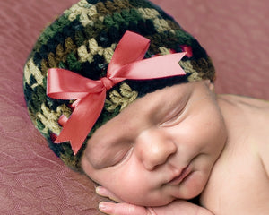 Crochet Baby Girl Camo Beanie Coral Ribbon Camouflage Hat
