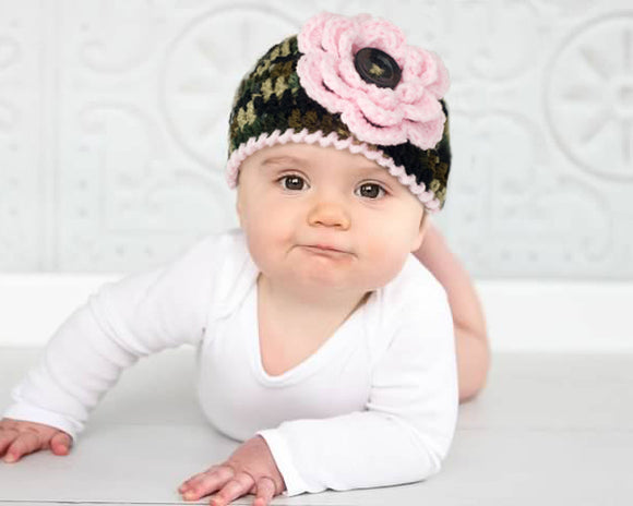 Baby Girl Camo Beanie Hat Pink Trim & Flower Photography Prop