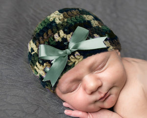 Baby Girl Camo Beanie Hat Sage Green Ribbon Photography Prop