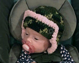 Baby Girl Camo Trapper Fur Trim Crochet Hat