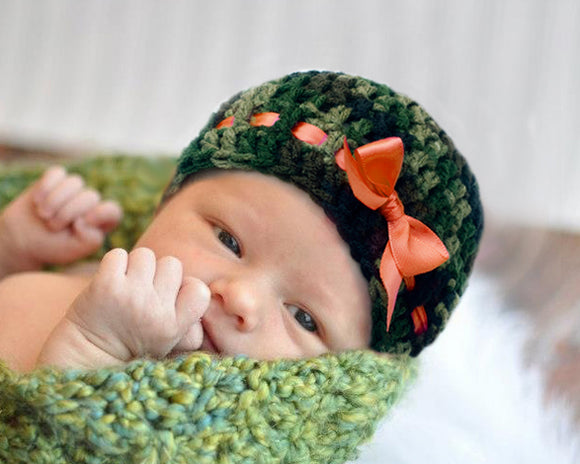 Crochet Baby Camouflage Beanie Hunter Orange Ribbon Camo Hat