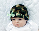 Baby Girl Camo Beanie Hat Sage Green Ribbon