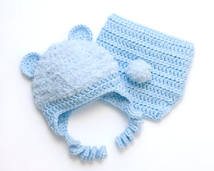 crochet baby boy soft blue hat & diaper cover faux fur