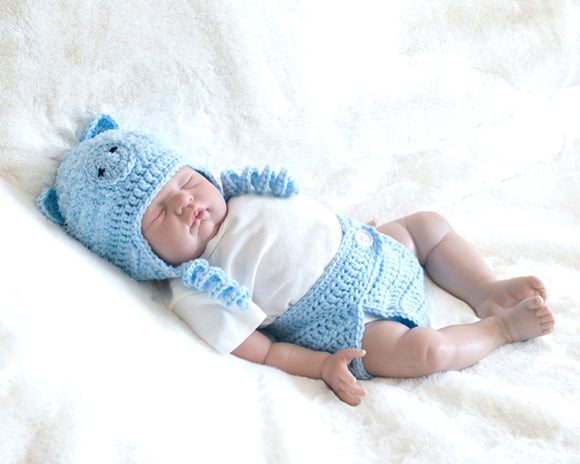 Baby Blue Crochet Pig Hat & Diaper Fluffy