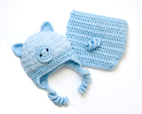 Baby Blue Crochet Pig Hat & Diaper Fluffy Faux Fur