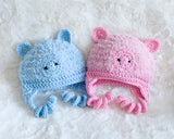 Baby Girl Fluffy Pink Crochet Year of the Pig Hat