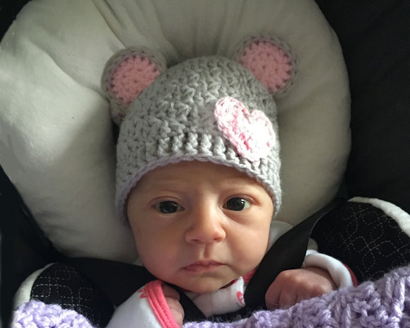 Crochet Baby Girl Bear Hat Gray Pink Newborn Photo