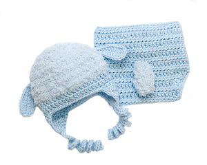 Baby Boy Crochet Fluffy Lamb Hat and Diaper Cover