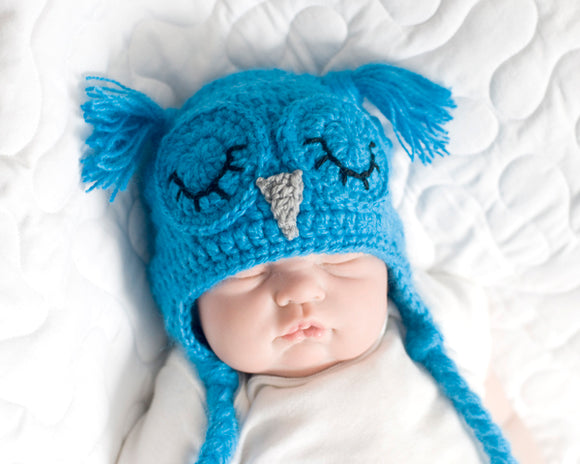 Crochet Baby Blue Sleepy Owl Fuzzy Hat Newborn Photo Prop
