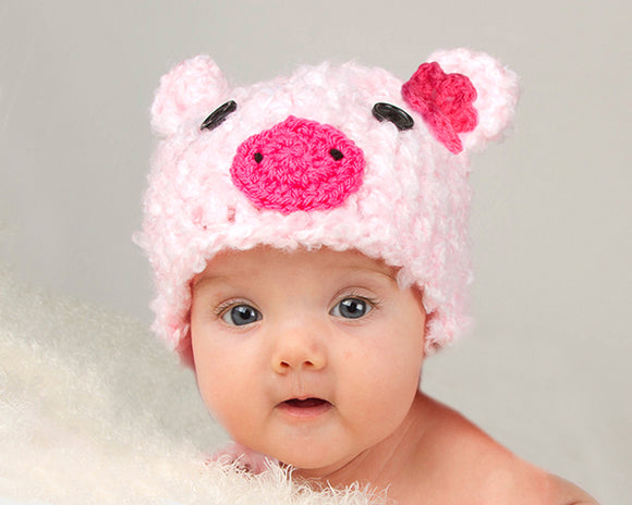 Baby Girl Pink Fluffy Pig Hat