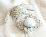 Baby Boy Easter Bunny Crochet Hat & Diaper Cover Beige