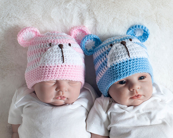 Twin Boy Girl Striped Bear Hats Blue White and Pink White