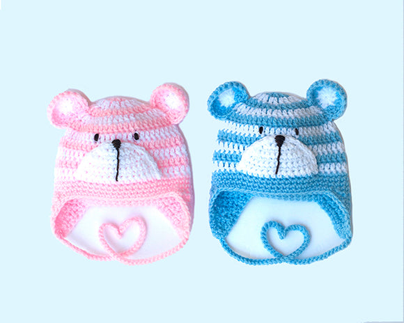 Baby Boy or Baby Girl Striped Bear Earflap Hat Photo Prop