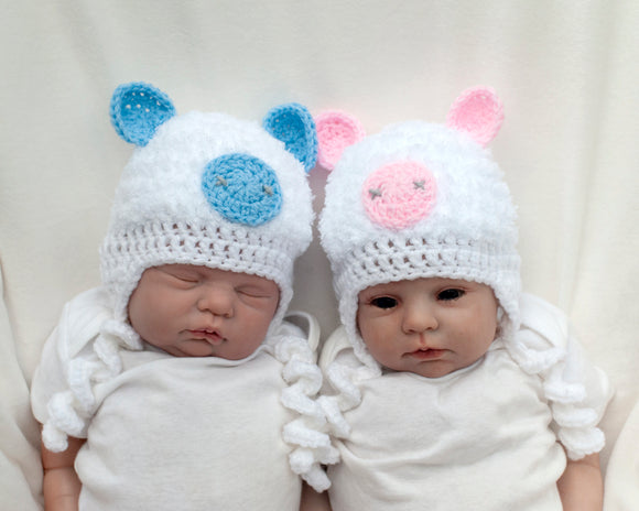 Baby Girl or Boy Fluffy Crochet Pig Hat