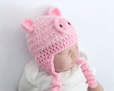 Baby Pink Crochet Pig Hat Fluffy Faux Fur Photo Prop