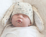 Baby Boy Easter Bunny Crochet Hat Tweed Beige