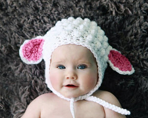 Baby Easter Lamb Crochet Hat Pink and White