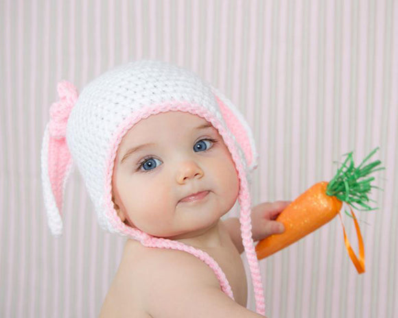 Crochet Baby Girl Easter Bunny Hat Photography Prop